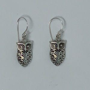 Sterling Silver Owl Dangling Earring